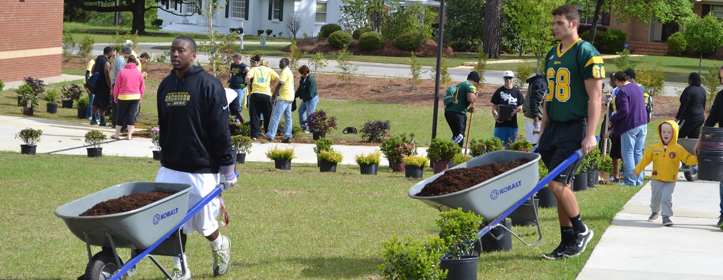 Students work on a landscaping project