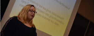 A Psychology student presents at the annual Research Symposium