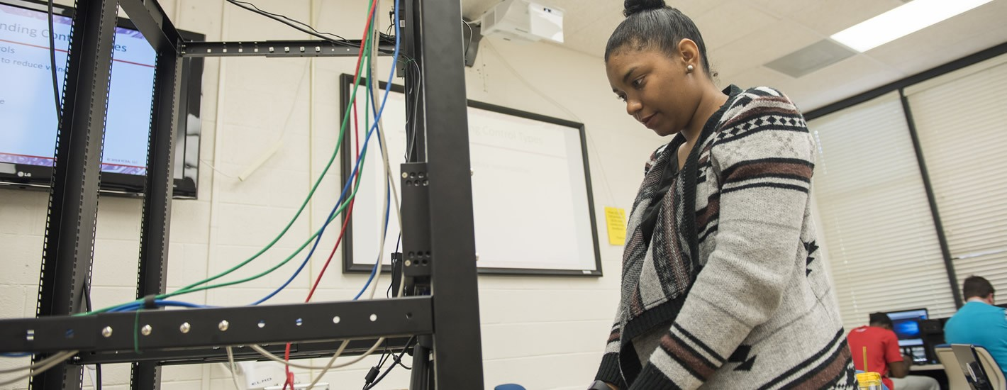 Student works in the cyber lab