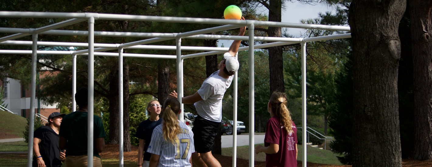 Students participating in intramural sports