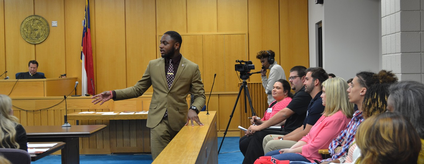 Students participate in a mock trial at the Cumberland County Courthouse