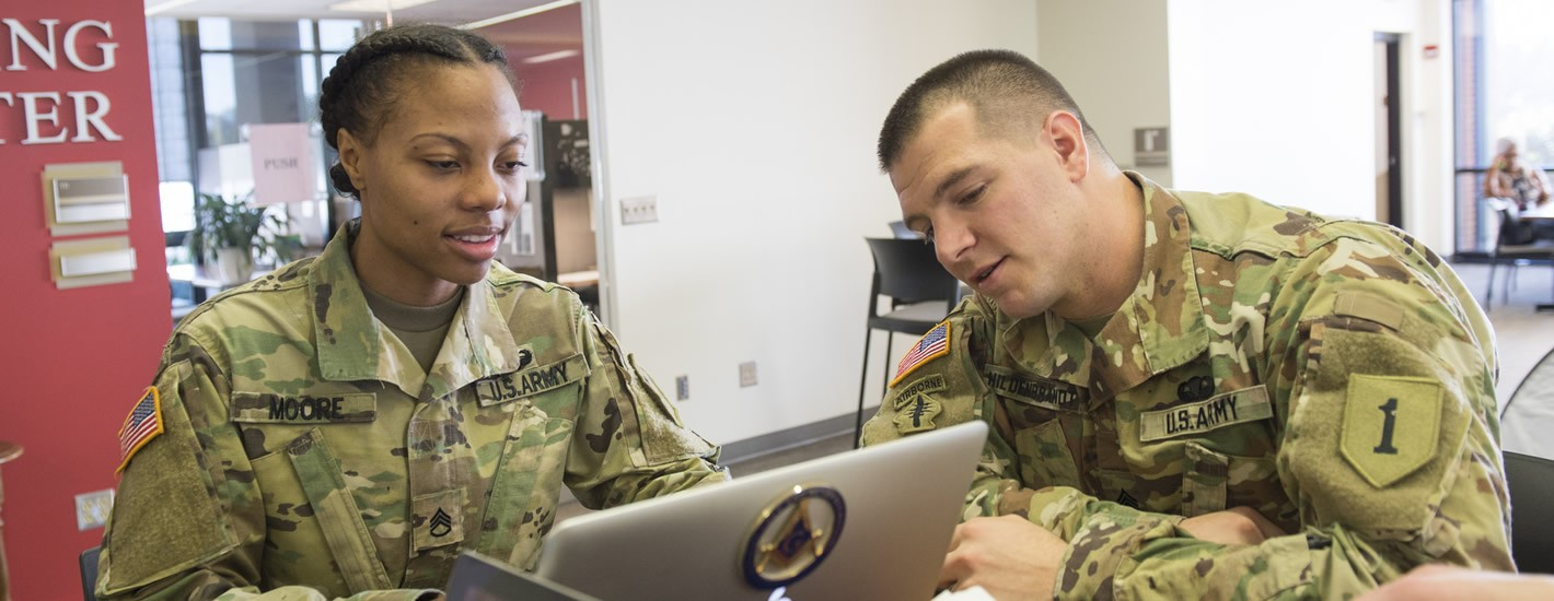 Army ROTC Cadets work in Davis Memorial Library