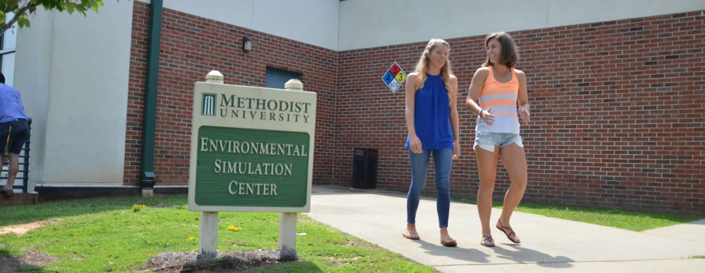 Students outside the Environmental Simulation Center