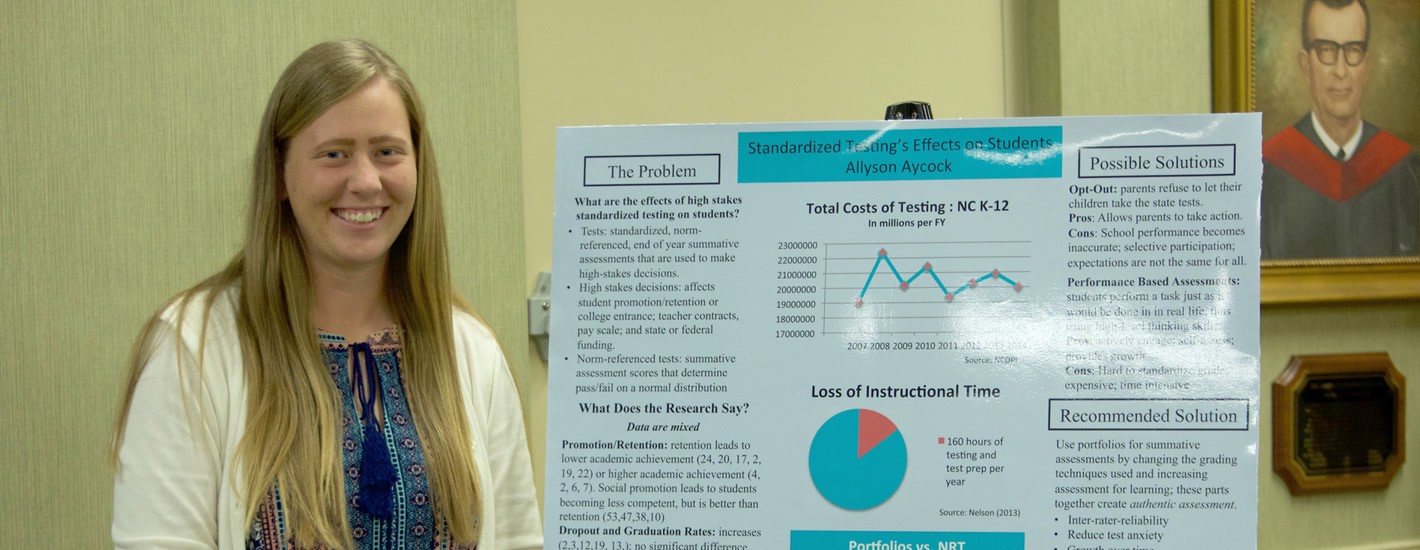 A student presents at the annual research symposium
