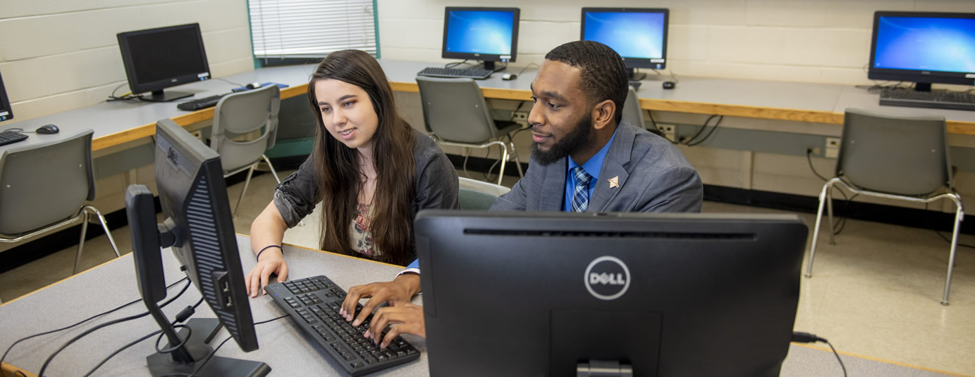 Students at work in the Allison Hall computer lab