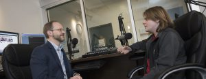 Dr. Kevin Swift is interviewed by a student on MU Radio