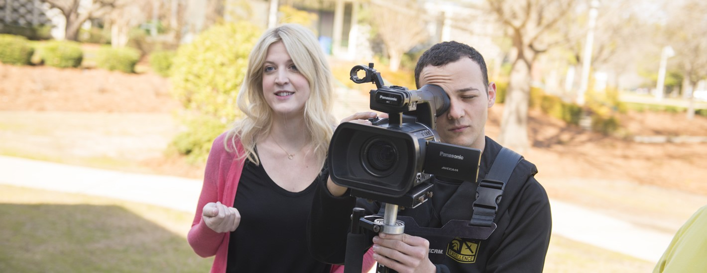 Students involved in video shooting