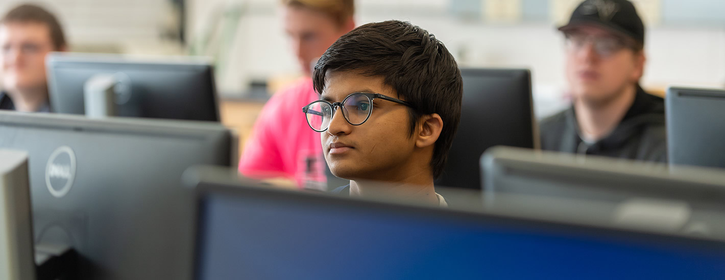 Student in the Engineering lab