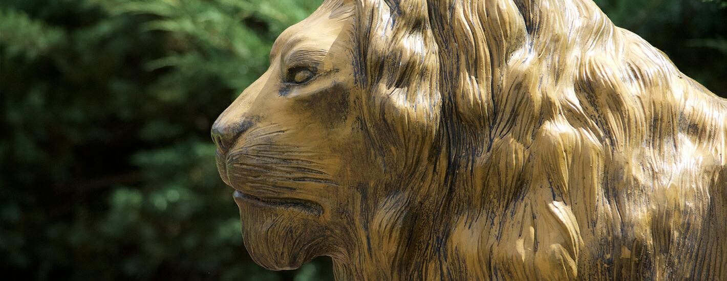 Bronze lion statue on campus