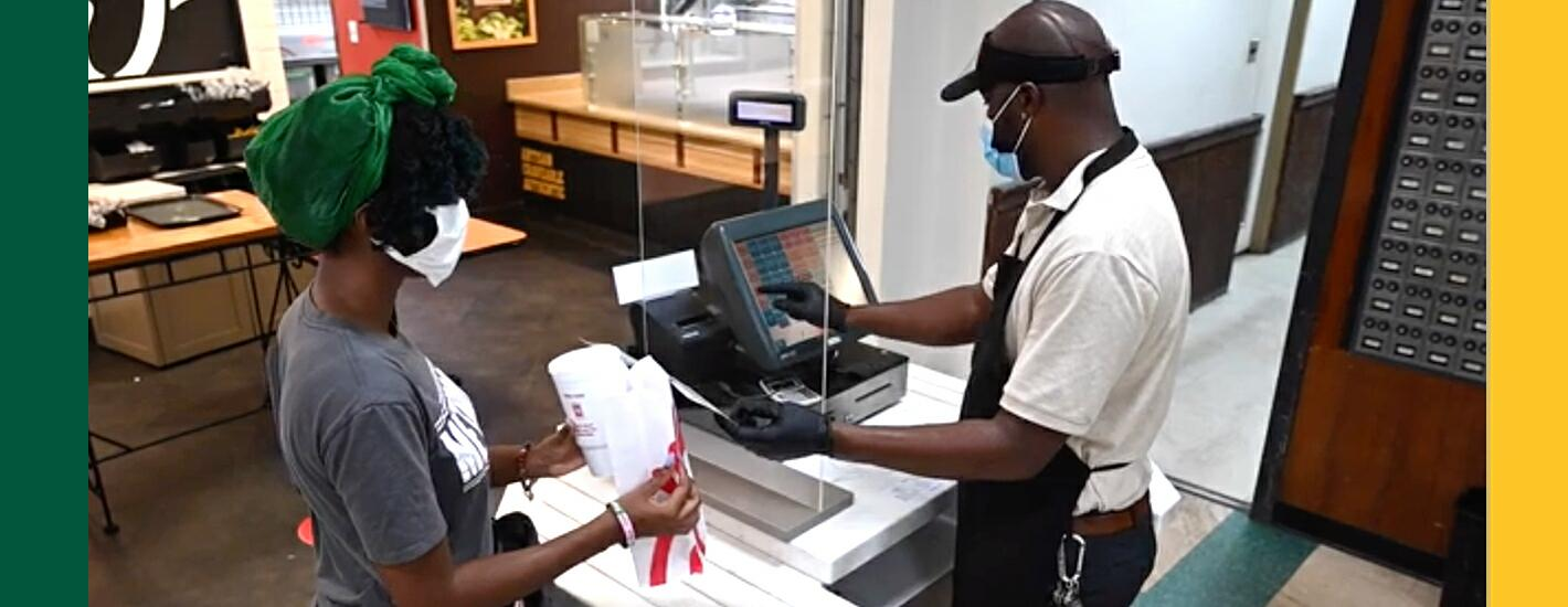 A student purchases a meal at Chick-fil-A in Berns