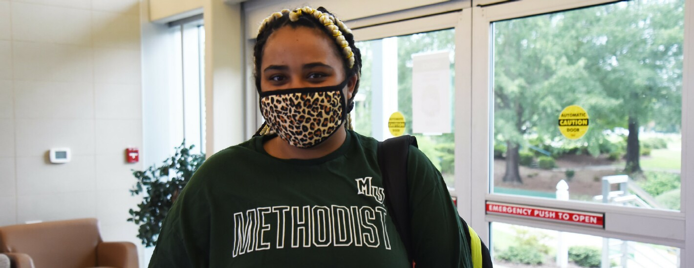 A student wearing a face mask