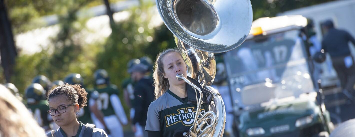 Student in the Athletic Band